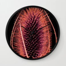 Red Teasel Wall Clock