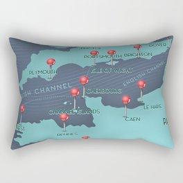 English Channel Nautical Map Rectangular Pillow