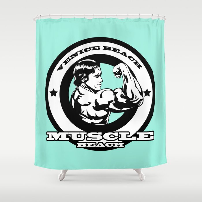 Venice Beach Muscle California LA Gym Arnold Shower Curtain By Muraldecal