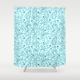 Cute Doodle Christmas Pattern Shower Curtain