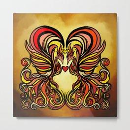 Crest of the Phoenix Heart (Hot) Metal Print