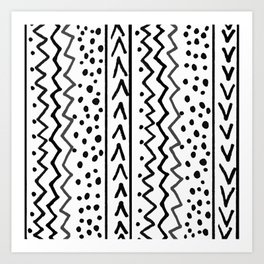 Black and White Lines Art Print