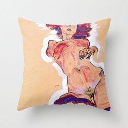 Egon Schiele - Female Nude 1910 Throw Pillow