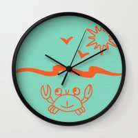 crab Wall Clocks featuring crab by gzm_guvenc