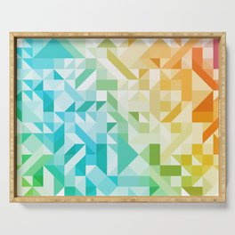 Colorful Geometric Pattern Saturated Rainbow Pattern Design (Red Pink Orange Yellow Green Blue) Serving Tray