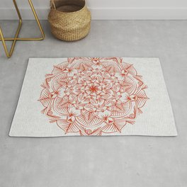 Rust Red Mandala on Japanese Rice Paper Rug