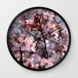 Cherry Plum Tree Pink Wall Clock