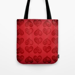 'Off With His Head Red Hearts Pattern' Wonderland styled design by Dark Decors Tote Bag