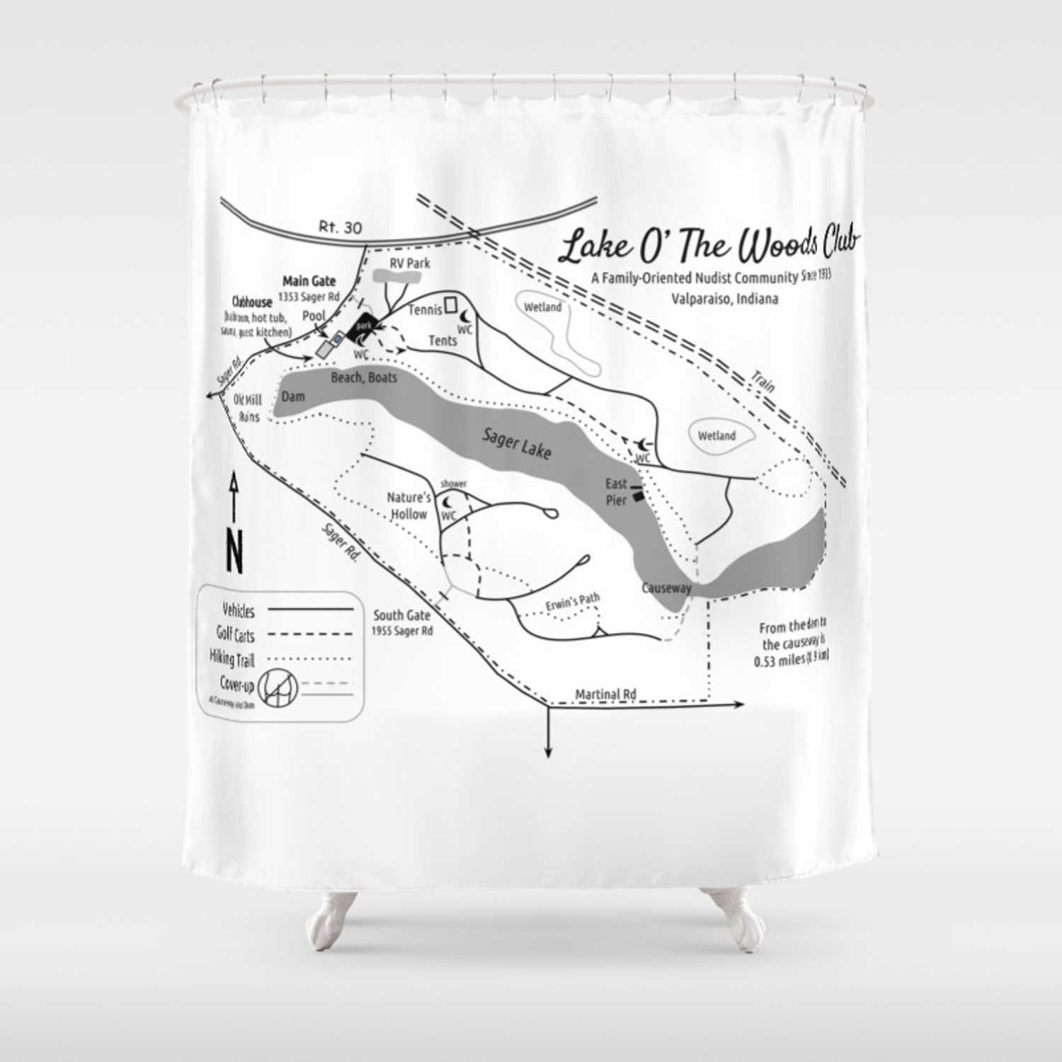 Lake O' The Woods Map O' The Grounds Shower Curtain Map Of Bathroom on bed map, bedroom map, portico map, exterior map, basement map, newfoundland and labrador map, security map, cafeteria map, secret passage map, fallout shelter map,