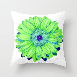 Gerbera Daisy: Lime and Blue Throw Pillow