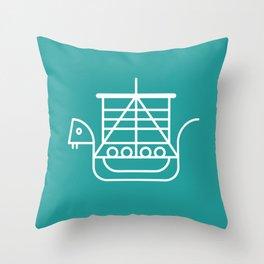 Viking Dragon Ship. Scandinavian pattern. Turquoise. Throw Pillow