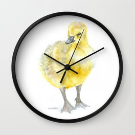 Baby Gosling Goose Watercolor Wall Clock