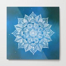 Floral Mandala in Blue Galaxy 01 Metal Print