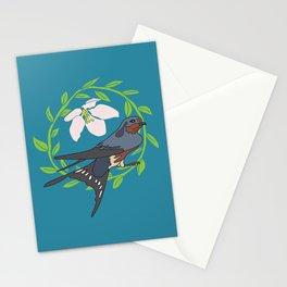 Floral Bird Illustration Spring Print Stationery Cards