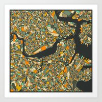 boston map Art Prints featuring BOSTON MAP by Jazzberry Blue