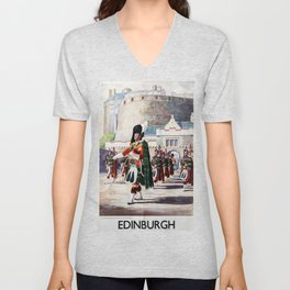 Edinburgh Vintage Travel Poster Unisex V-Neck