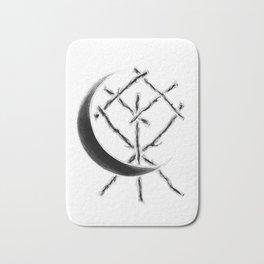 Crescent Moon Rune Binding at Midnight Bath Mat