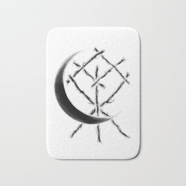 Crescent Moon Rune Binding at Midnight Bath Mat