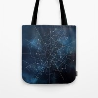 map Tote Bags featuring Celestial Map by Rose's Creation