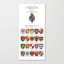 KING HENRY V - Roll of arms of the Knights of the Garter installed during his reign Canvas Print