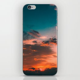 Colorful Pink Orange Turquoise Sunset Clouds Ombre Gradient iPhone Skin