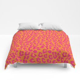 80s Leopard Print in Orange and Hot Pink Comforters
