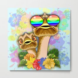 Ostrich Hawaii Fashion Funny Dudes Metal Print
