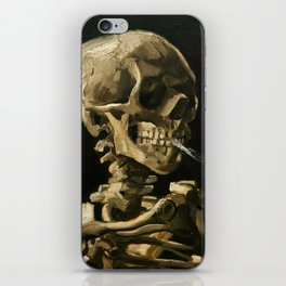 Skull Of A Skeleton With Burning Cigarette iPhone Skin