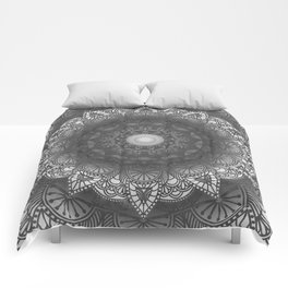 Black And White Flower Mandala Comforters