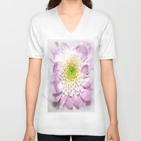 water colour V-neck T-shirts featuring Flower Head water colour by Brian Raggatt