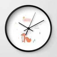 mr fox Wall Clocks featuring Mr fox by Pauline Midon