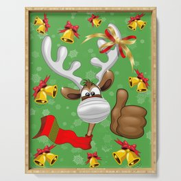 Reindeer Christmas Character with Face Mask Serving Tray