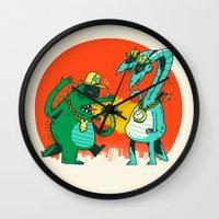 rap Wall Clocks featuring Kaiju Rap Battle by Morkki