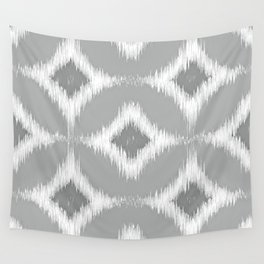 Elegant White Gray Retro Circles Squares Ikat Pattern Wall Tapestry