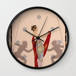 "Art Deco Illustration ""The Duel"" by Erté Wall Clock"