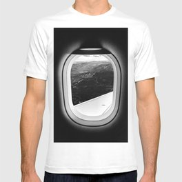 Window Seat // Scenic Mountain View from Airplane Wing // Snowcapped Landscape Photography T-shirt