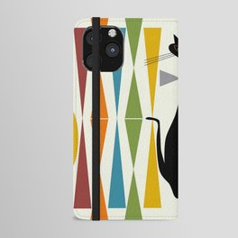 Mid-Century Modern Art Cat 2 iPhone Wallet Case