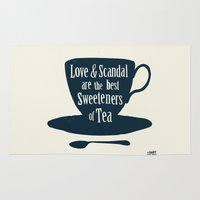 scandal Area & Throw Rugs featuring Love & Scandal are the Best Sweeteners of Tea by andy fielding