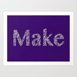 Make: Cut Paper Typography in Purple Art Print