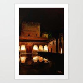 Court of the Myrtles by Night - Alhambra Art Print