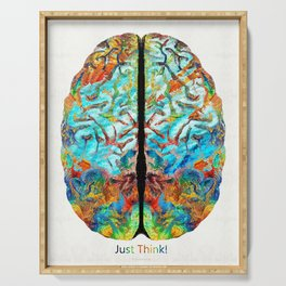 Colorful Brain Art - Just Think - By Sharon Cummings Serving Tray