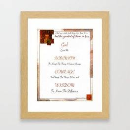 Inspirational Typography Art, Serenity Poem with Faith, Hope, Love Framed Art Print