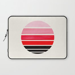 Red Mid Century Modern Minimalist Circle Round Photo Staggered Sunset Geometric Stripe Design Laptop Sleeve