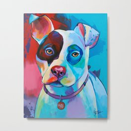 Pete - Pitbull Pop Art Metal Print