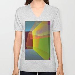Modern colourful translucent cubism Unisex V-Neck