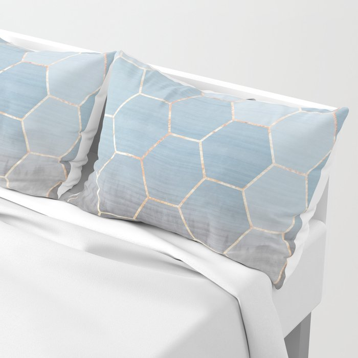 honeycomb winter forest // copper & blue Pillow Sham