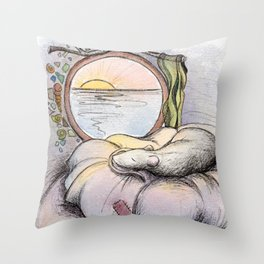 Nap Time, Illustration Throw Pillow