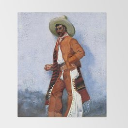 "Frederic Remington Western Art ""A Vaquero"" Throw Blanket"