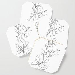 Botanical illustration line drawing - Magnolia Coaster