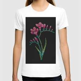 Embroidered Flowers on Black 06 T-shirt
